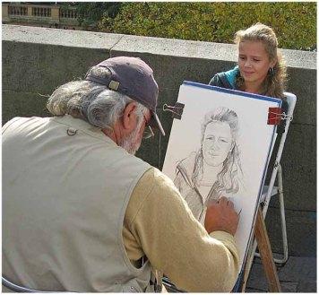 Sidewalk artist, Prague