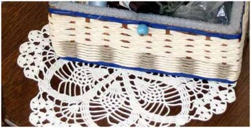 Doily and sewing basket
