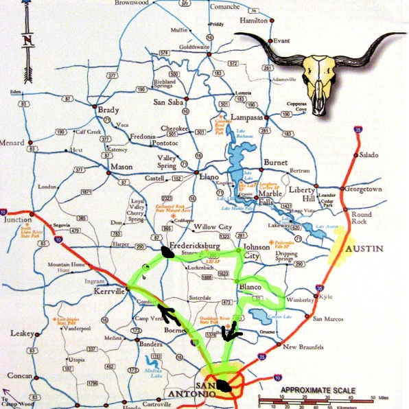 Our route through the hill country
