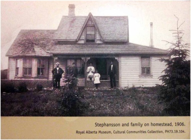 The Stephan Stephansson family homestead in 1906