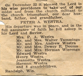 Peter Westra obituary 1938