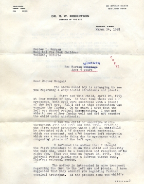 Letter re Herman's eyes 1958