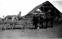 Andrew and Dixie on wagon with unknown