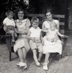 Harriet with Dixie, Agnes with two boys