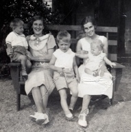Mom with, Dixie, Aunt Agnes and two boys