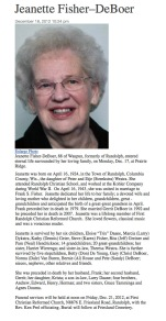 Jeanette obituary 2012