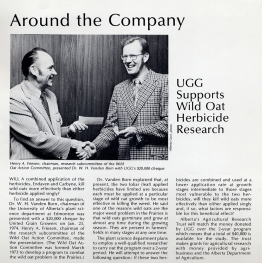 Research grant from United Grain Growers, presented by Henry Friesen 1974