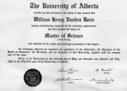 Master of Science degree certificate 1958