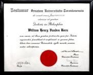 Ph.D. certificate University of Toronto 1961