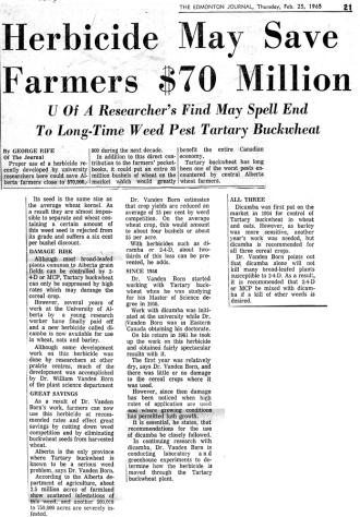 Edmonton Journal publicity 1965