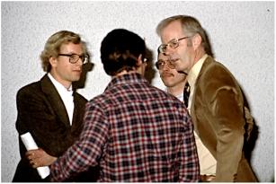 With mural painter John Maywood (left) 1982