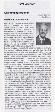 Note re WSSA Outstanding Teacher Award 1994