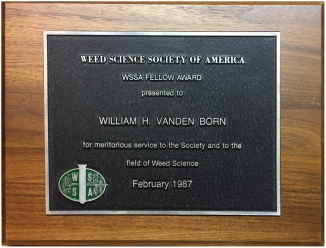 WSSA Fellow Award plaque 1987