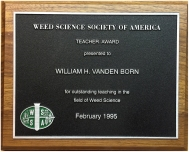 WSSA Teacher Award plaque 1995